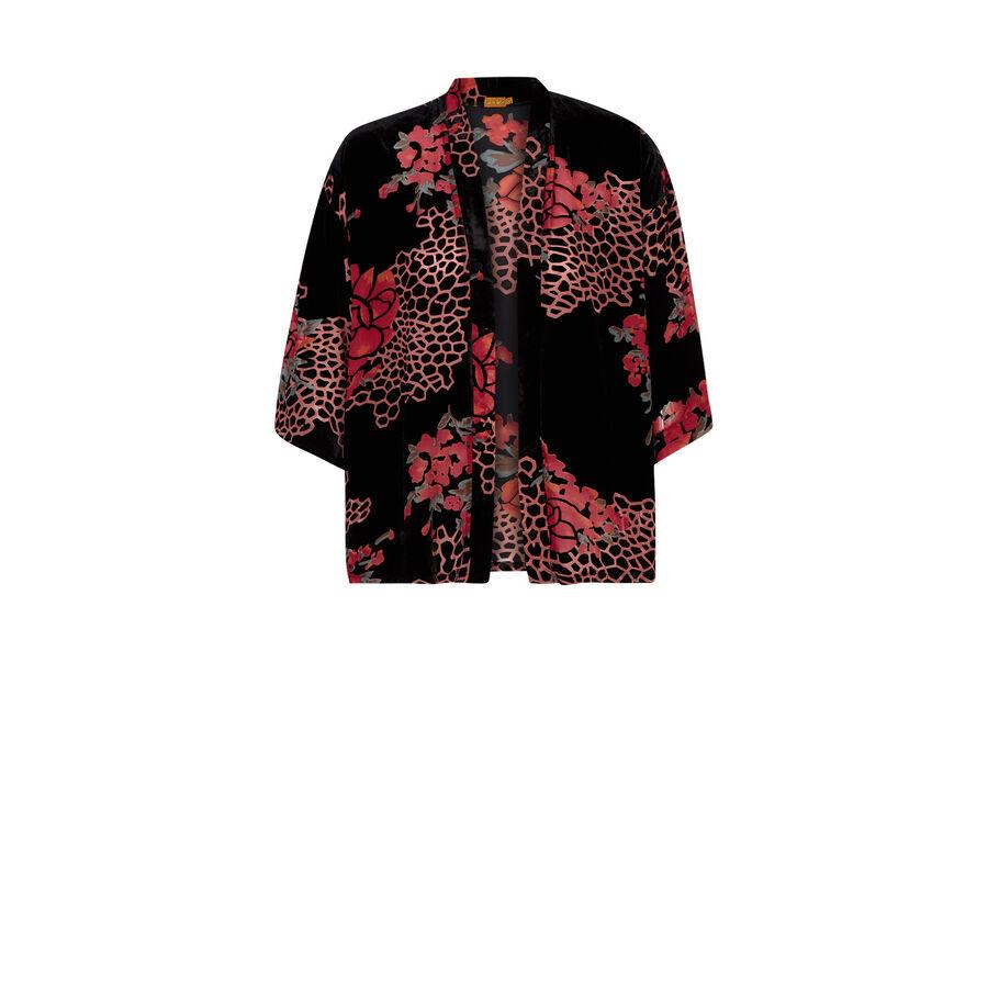 Feuillagiz black kimono;${refinementColor}