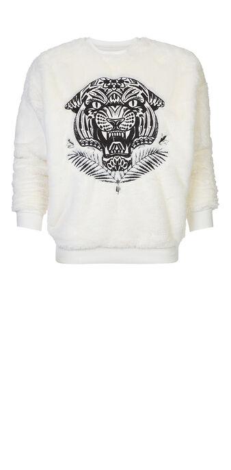 Tetoviz plush beige sweatshirt white.