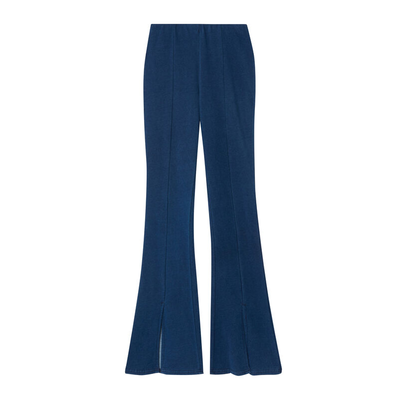 rozszerzane spodnie z rozcięciami — kolor niebieski;