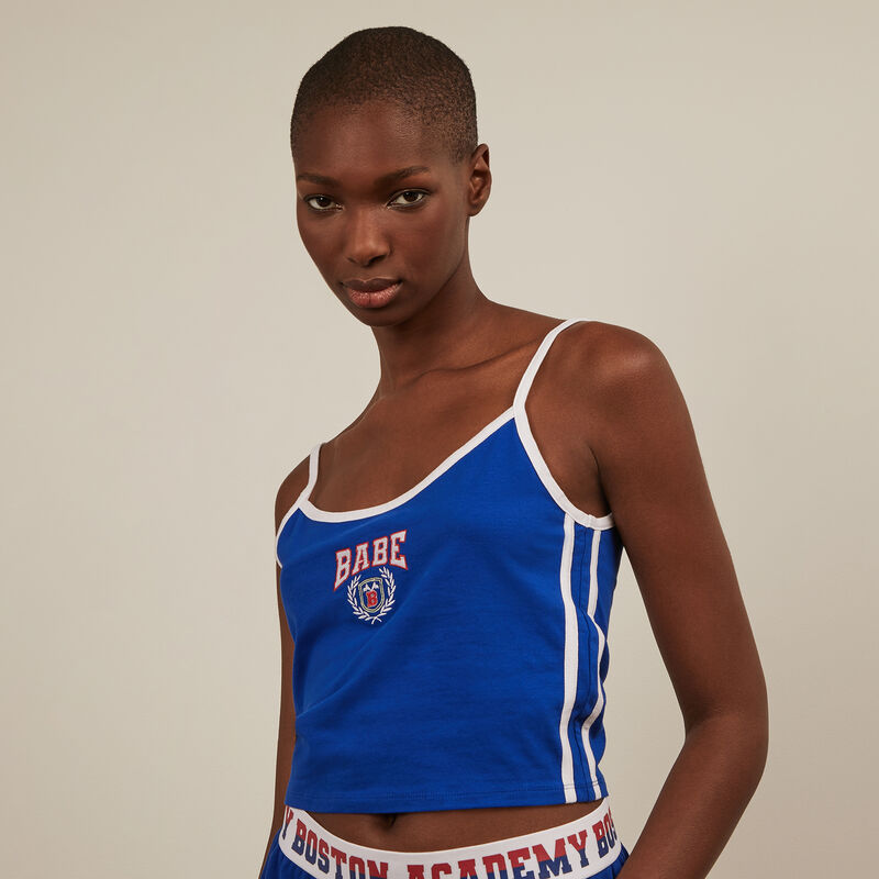 Babe tank top with straps - blue ;