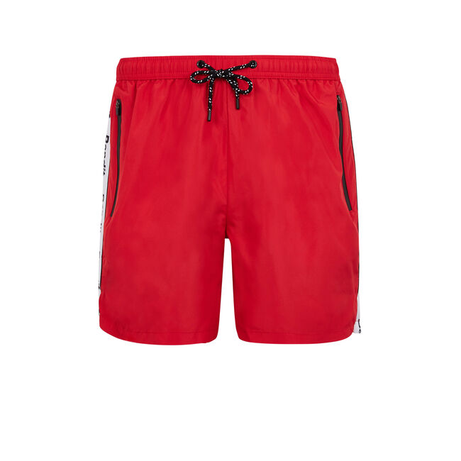 Banditiz red swim shorts;