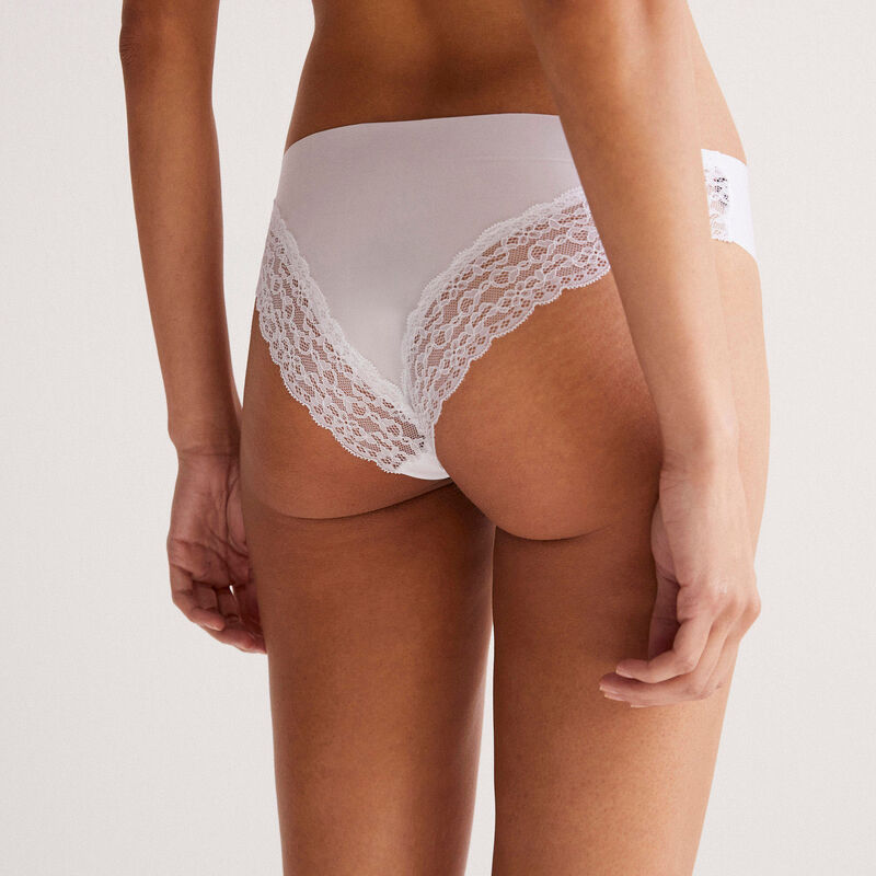 hipsters with lace back - white;