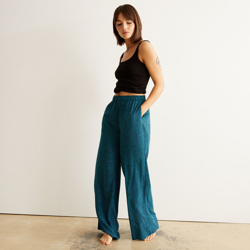 Animal print trousers - blue;