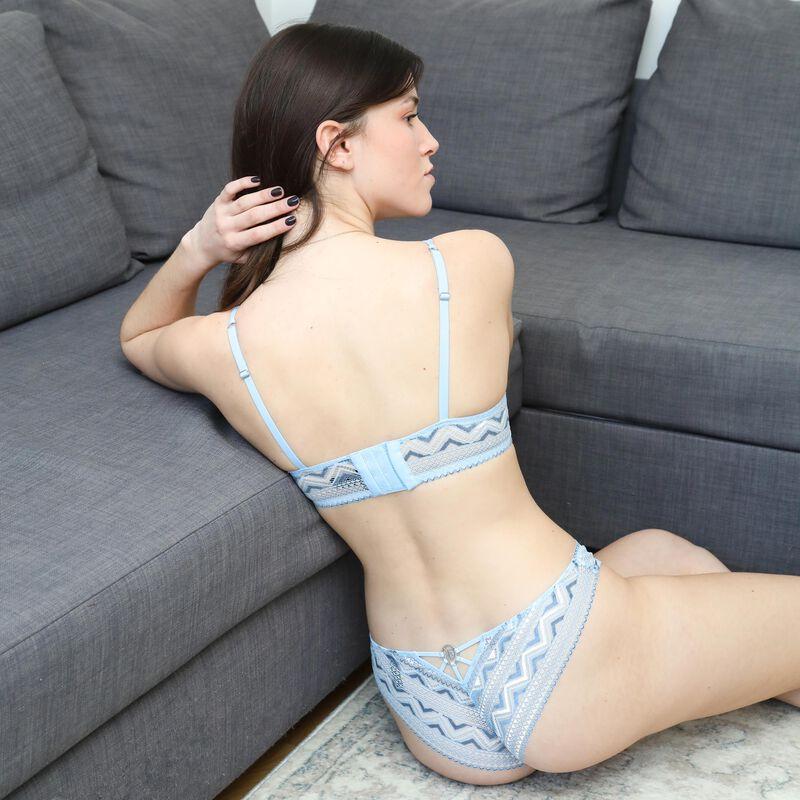 two-tone lace push-up bra - blue;