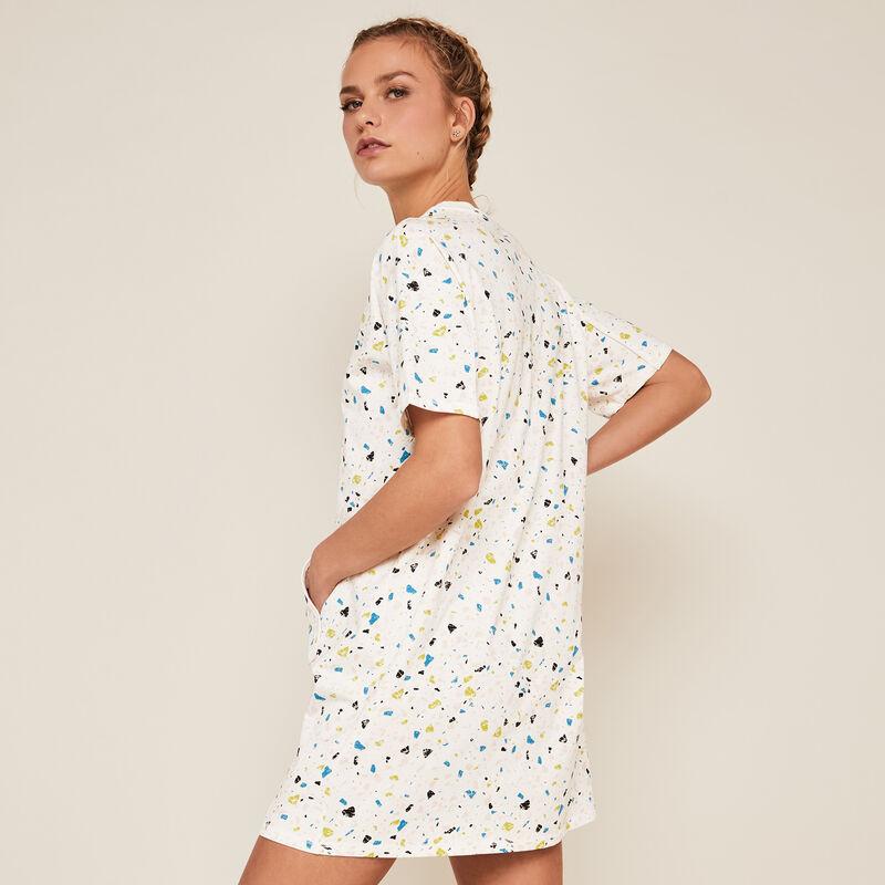 Short-sleeved tunic with pocket - white ;