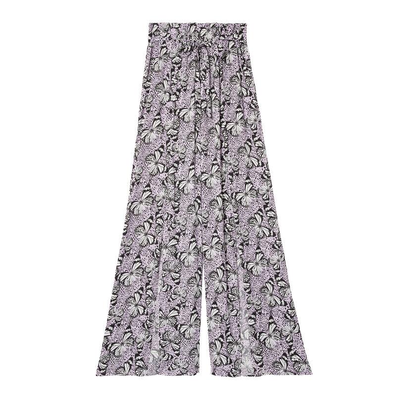 wide-leg split trousers with butterfly pattern - lilac;