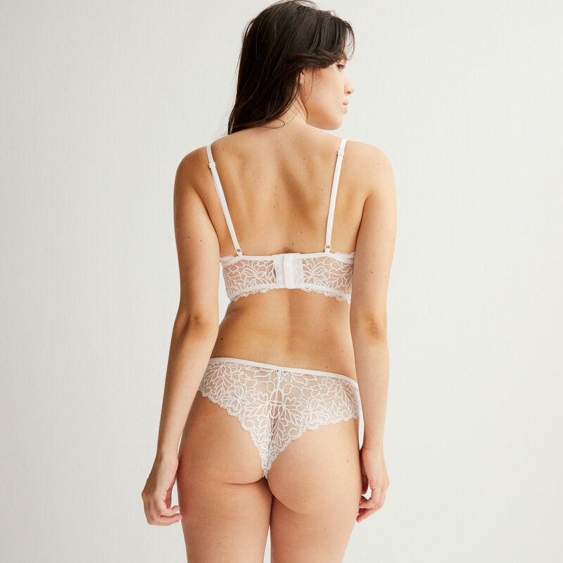 Lace triangle push up bra - white;