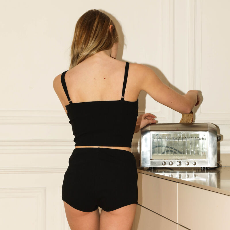 jersey shorts with corset detail - black;