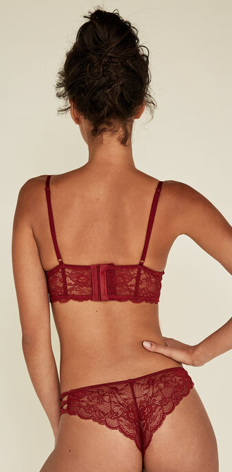 Flirtiz burgundy push-up bustier bra biking red.
