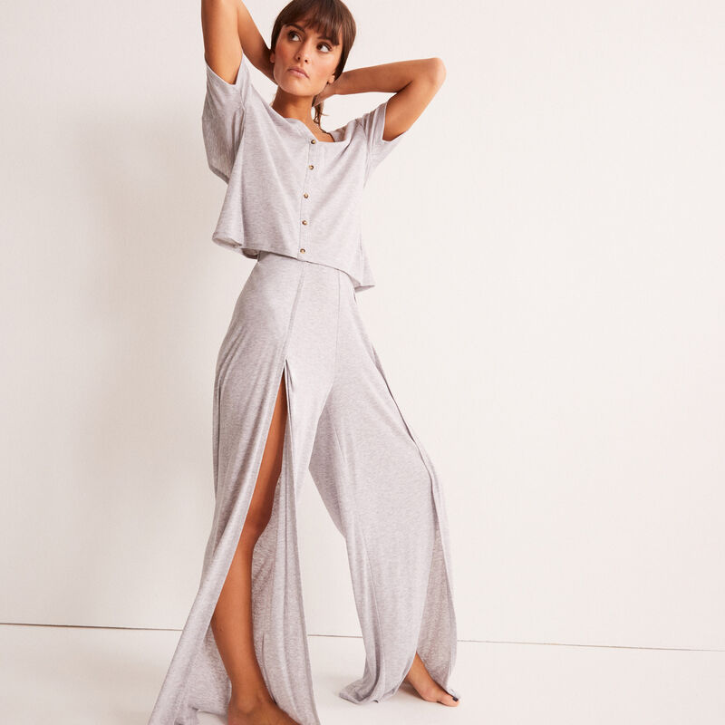 Wide trousers with slit - grey;