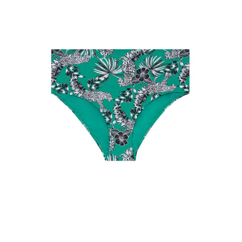High-waisted bikini briefs - green;