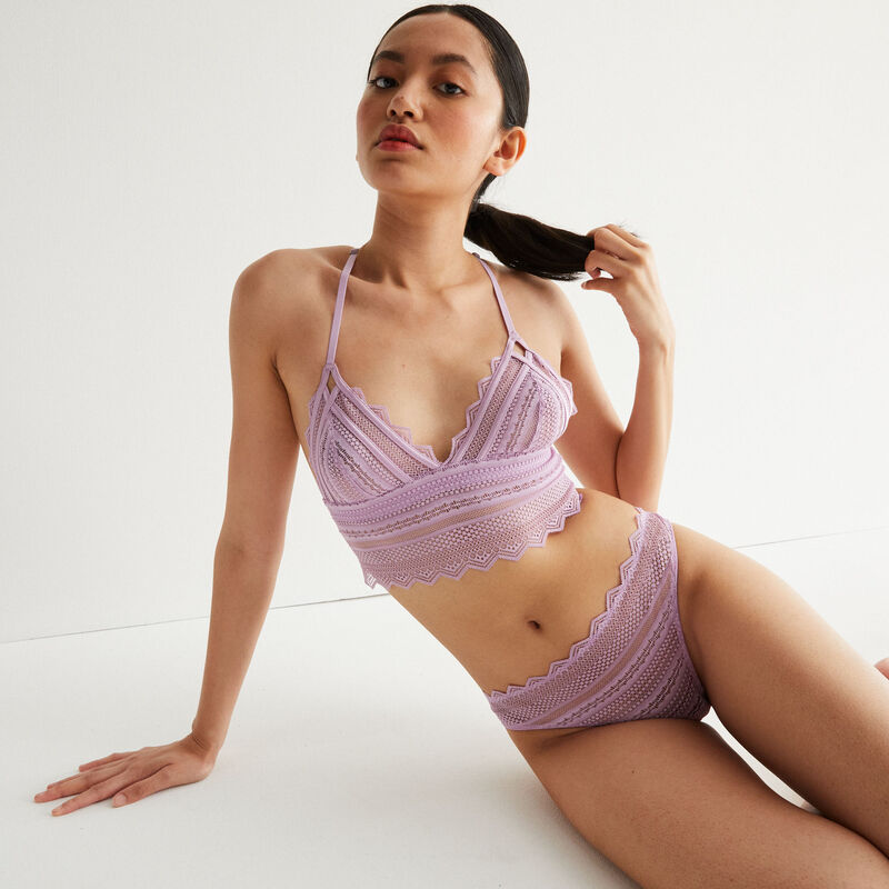non-wired triangle bra with back detail - lilac;