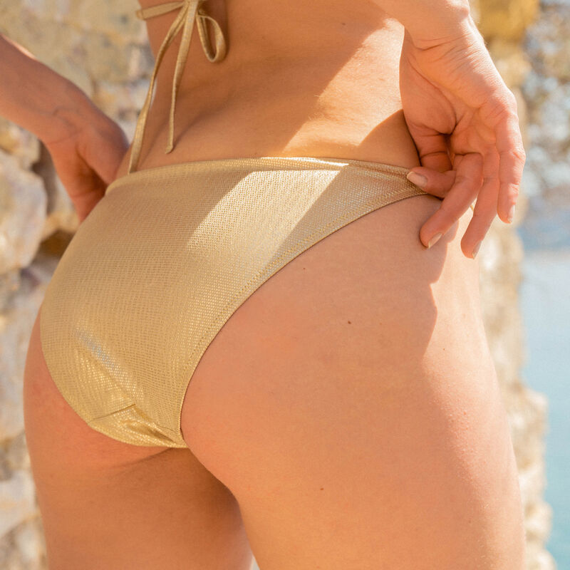 sparkly swimsuit briefs - gold;