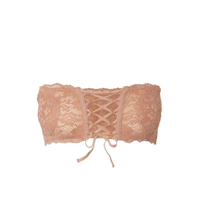 non-wired corset-effect bandeau bra - beige;