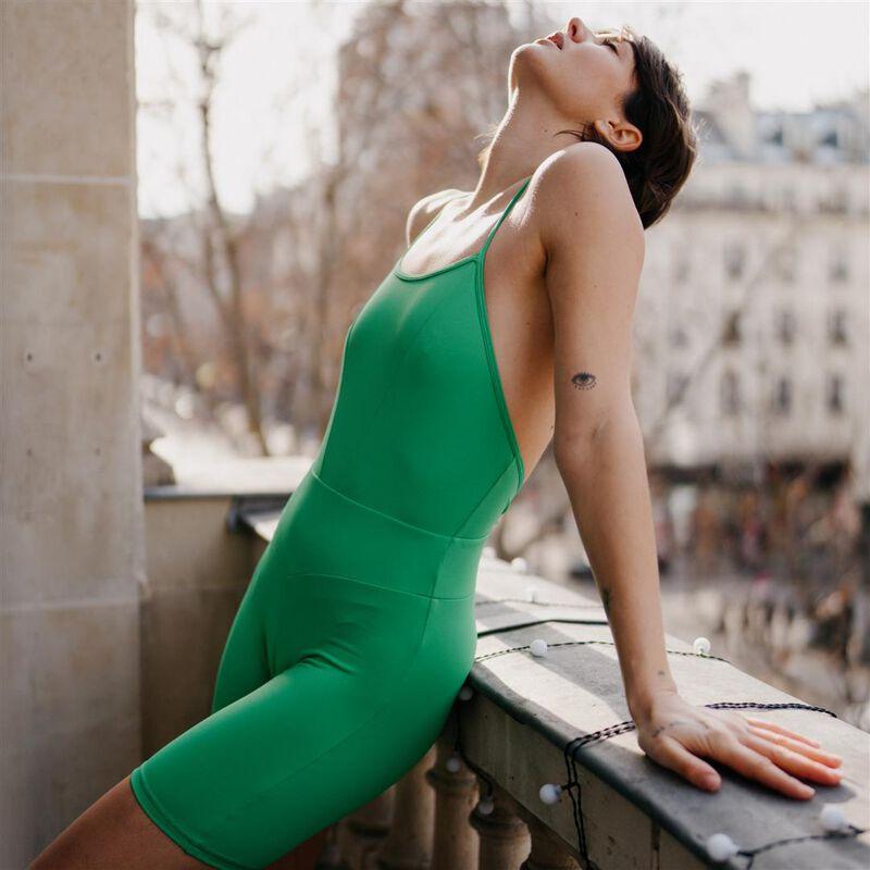 спортивные комбишорты с перекрещивающимися бретелями - зеленый;