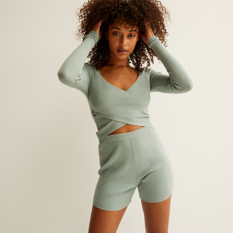 crossover top with knitted front and back - aqua;