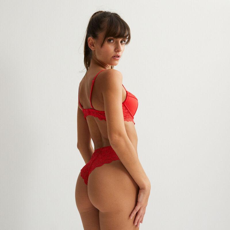 teksturowany biustonosz push-up z guzikami — czerwony;