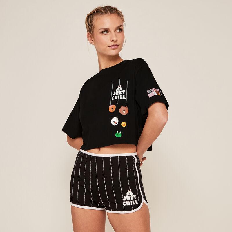 Stripy Line Friends shorts - black;