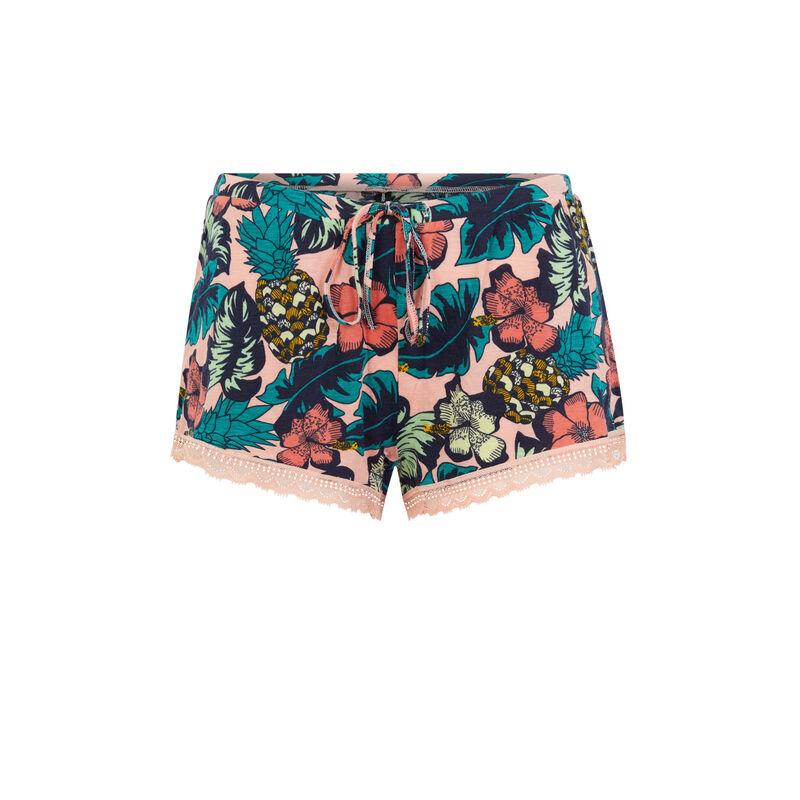 Floral print shorts - salmon pink;