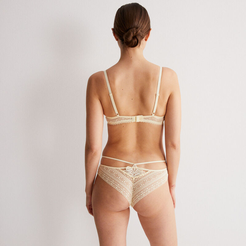 lace thong with band detail - off-white;