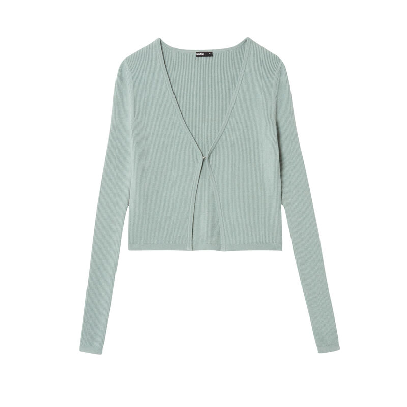 knitted top with hook fastening - aqua;
