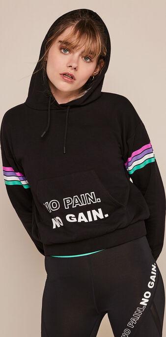 Polasportiz sports sweatshirt with hood black.