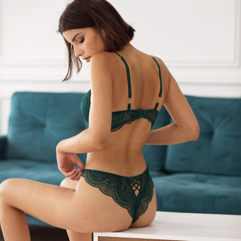 koronkowe brazyliany tanga z wiązaniem — kolor zielony;