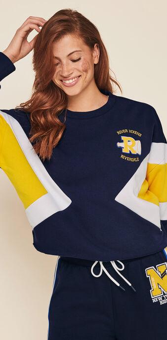 Bluza z okrągłym dekoltem licencja riverdale riverdaliz granatowy.