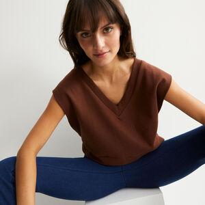 V-neck sleeveless sweatshirt - brown