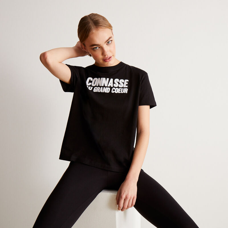 top with conasse au grand coeur (bitch with a big heart) print - black;