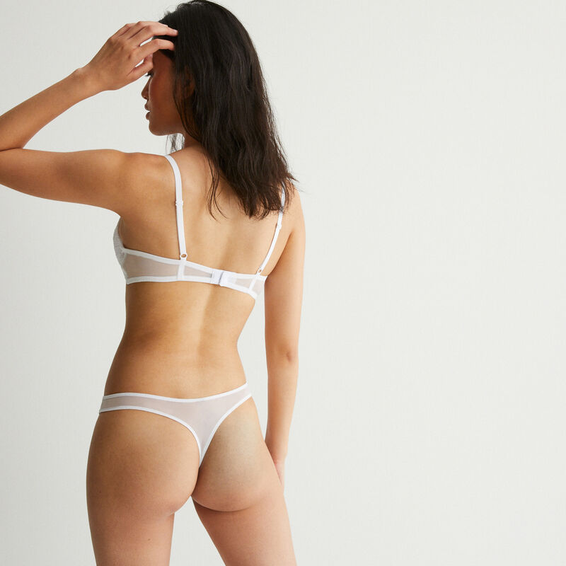Lace thong with bow detail - white;