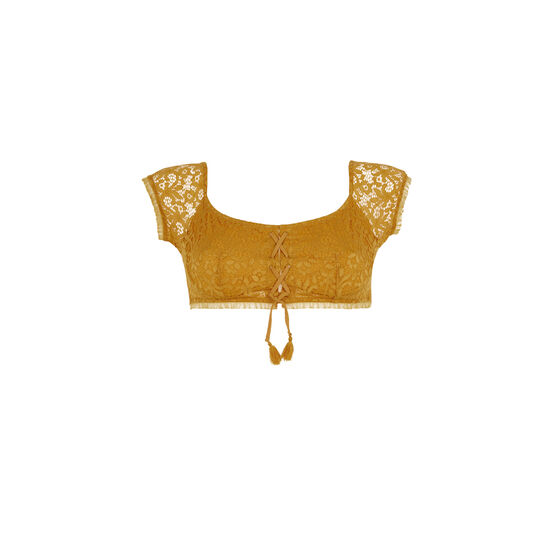 Dorothiz ochre-coloured bandeau bra;