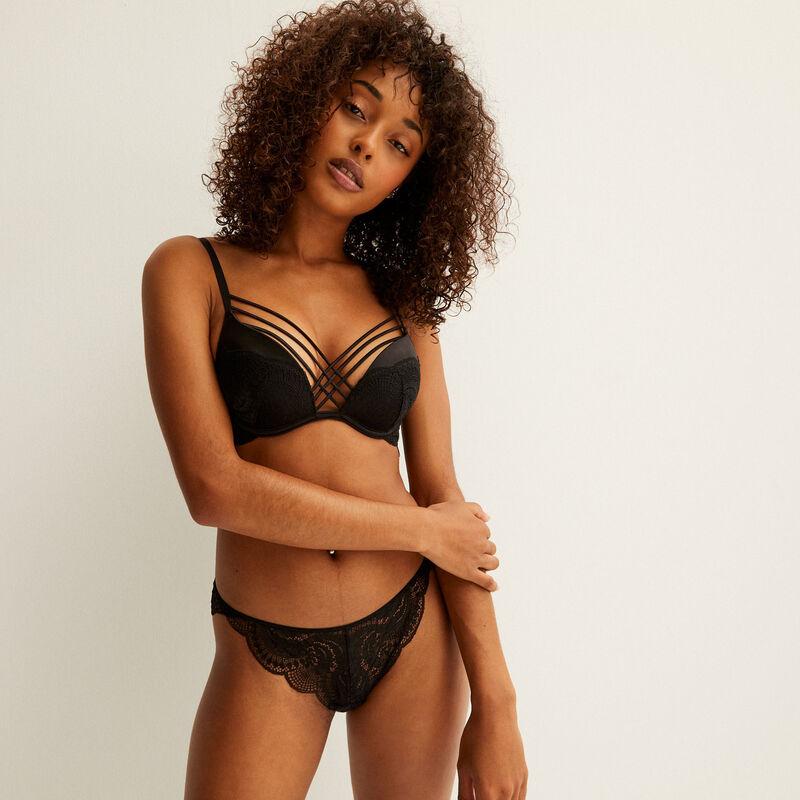 Lace push-up bra with satin straps - black;