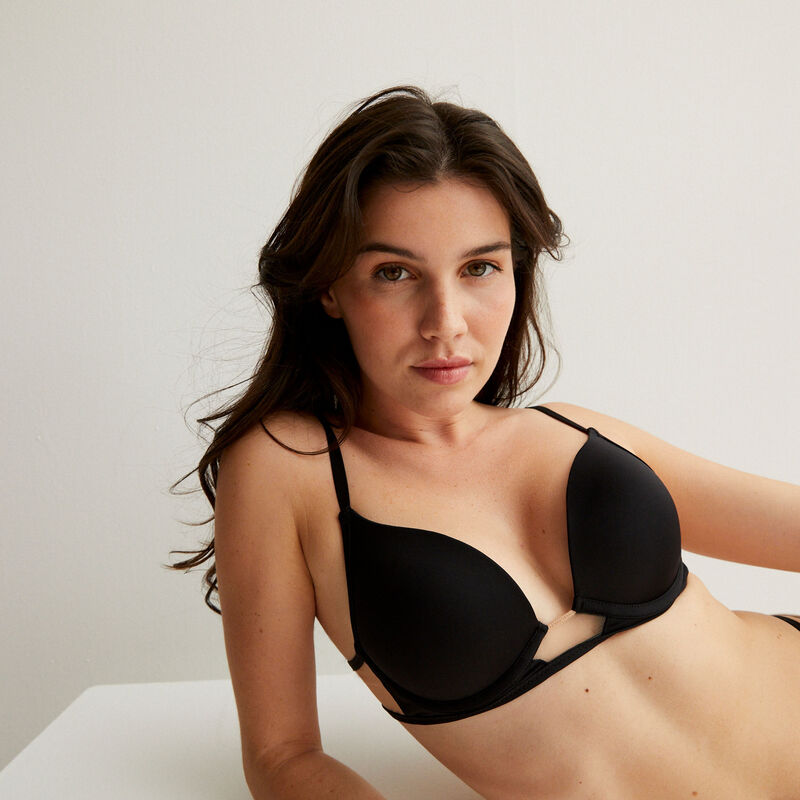 Microfibre and tulle insert push-up bra - black;
