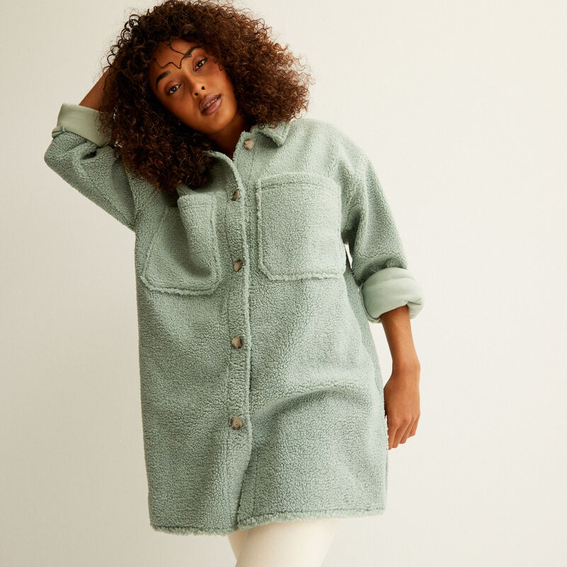 oversized loop jacket - water green;