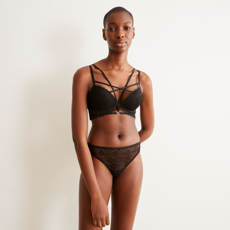 Push-up bra with strapping - black;