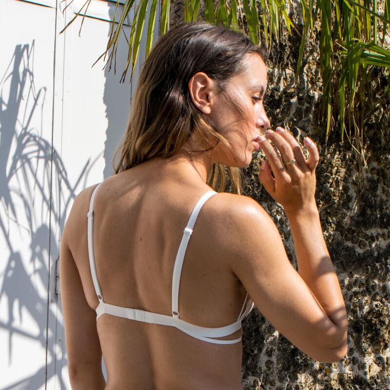 plunging non-wired triangle bra with tattoo effect - ecru;