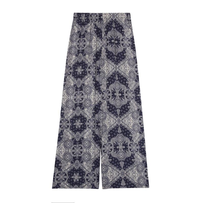 satynowe spodnie we wzory — niebieskie;