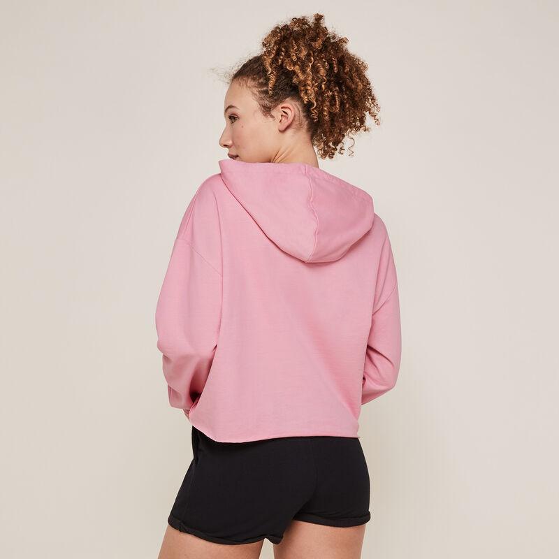 Hooded sweatshirt with slogan - pink  ;