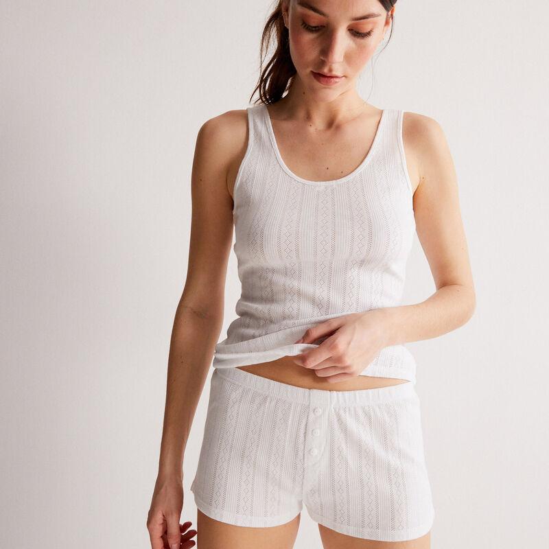 plain pointelle knit shorts - white;