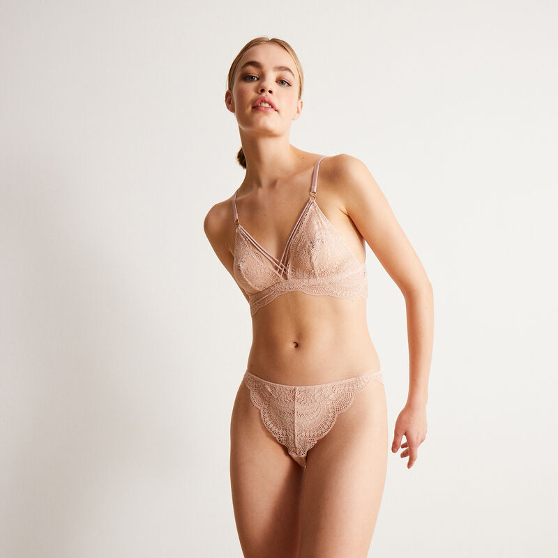 lace tanga briefs and satin strap - pink;
