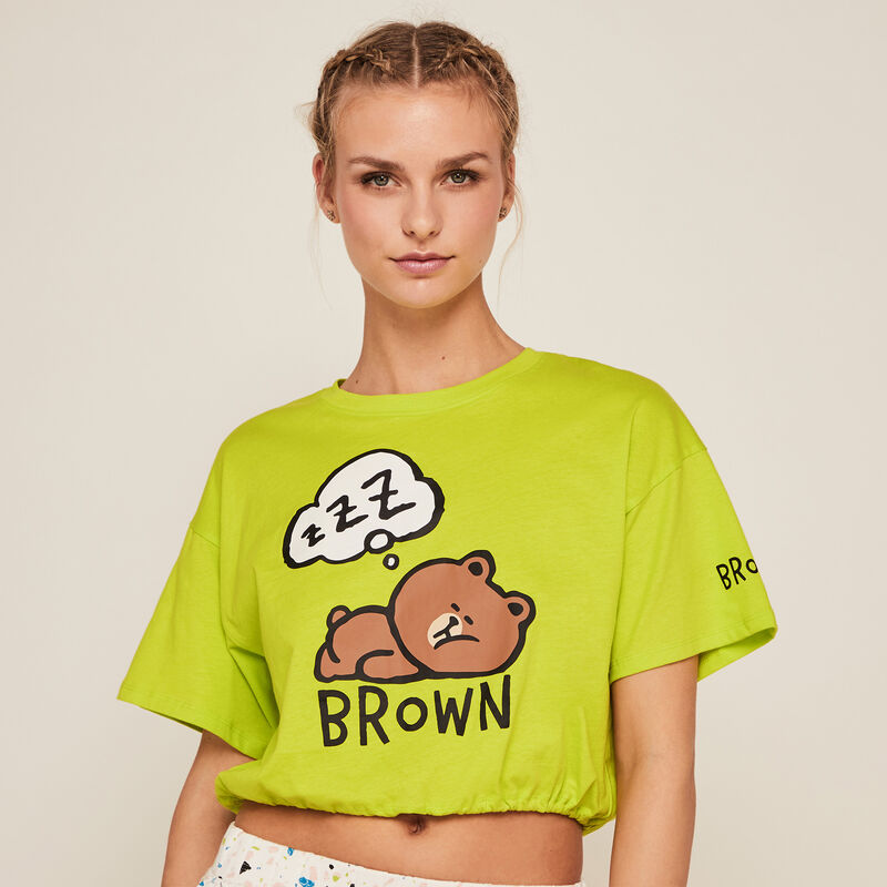 Line Friends short-sleeved top - green;
