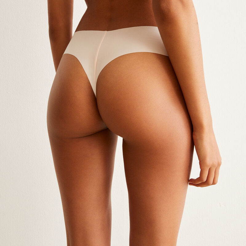 Microfibre and lace tanga briefs - pale pink;