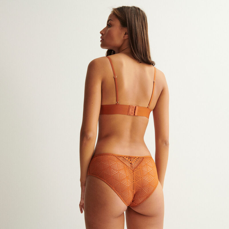 triangle bra with tie and golden bead details - camel;