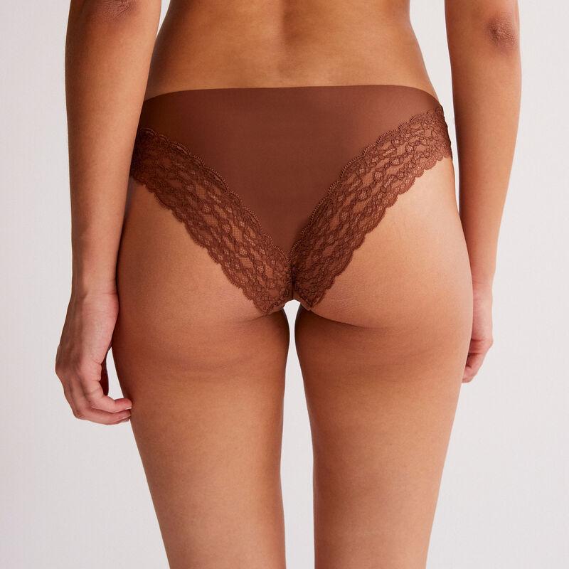 microfibre and lace briefs - dark brown;