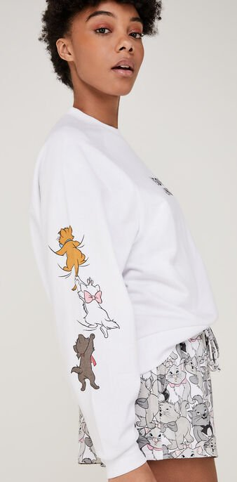 Troublediz white sweatshirt wit.