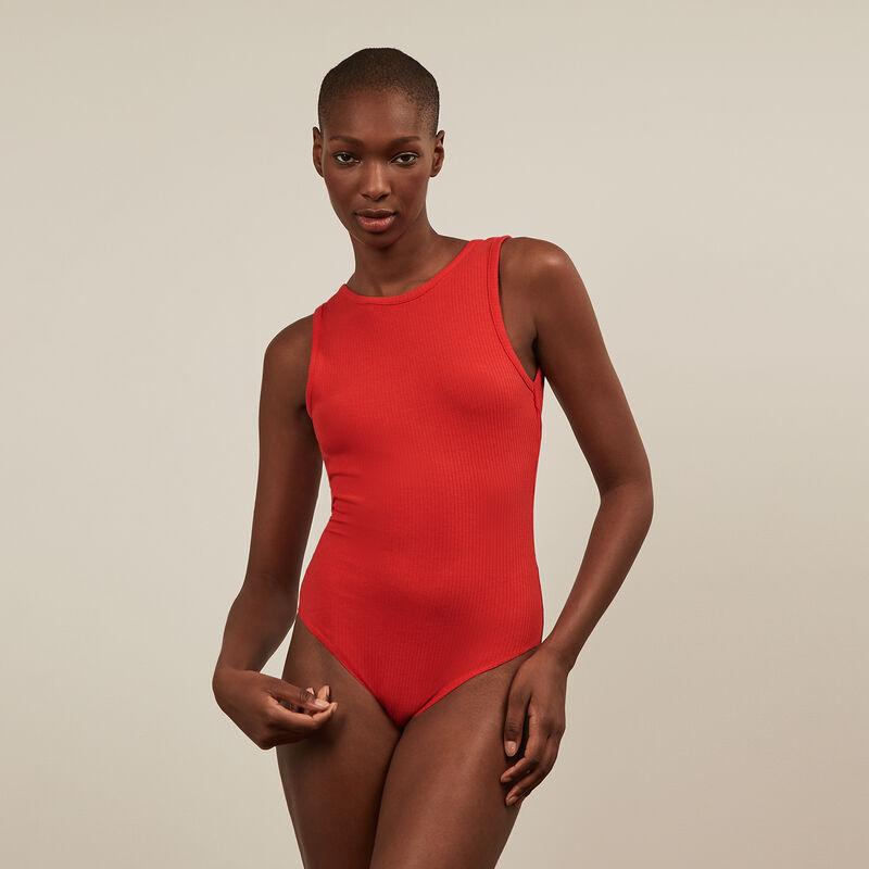 Open back sleeveless bodysuit - red;