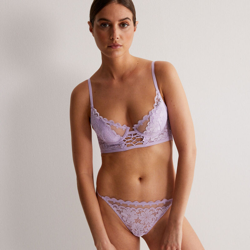 embroidered lace padded bra - lilac;