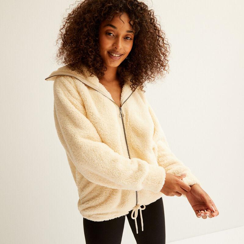 zipped fleece jacket - cream;