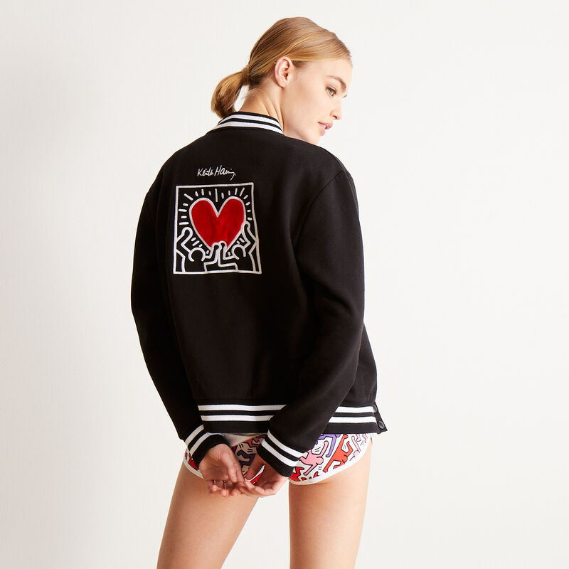 """куртка с принтом """"сердце от Кита Харинга"""" - черный;"""